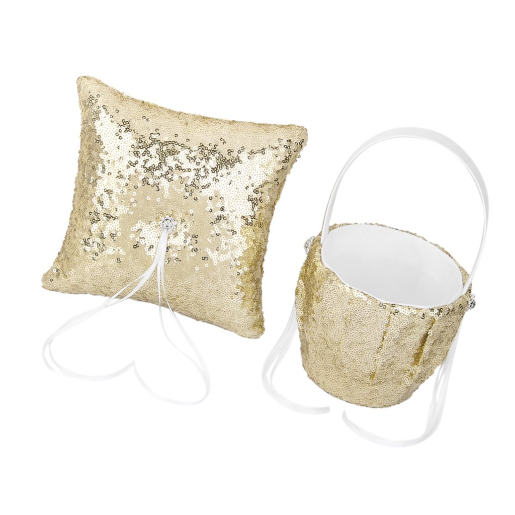 SM SunniMix Wedding Ceremony Party Gold Sequins Flower Girl Basket Ring Pillow Cushion