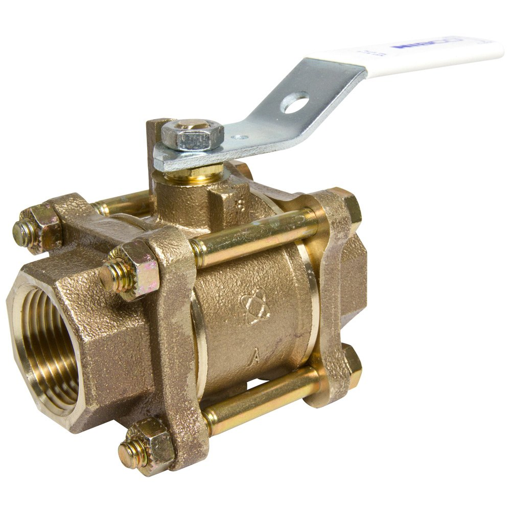 NIBCO T-595Y-66-LF Silicon Bronze Lead-Free Ball Valve, Stainless Steel Trim, Three-Piece, Lever Handle, 1-1/2'' Female NPT Thread (FIPT)
