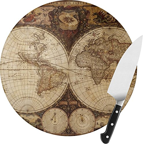 Vintage World Map Round Glass Cutting Board - Small - Glass Round Cutting Board