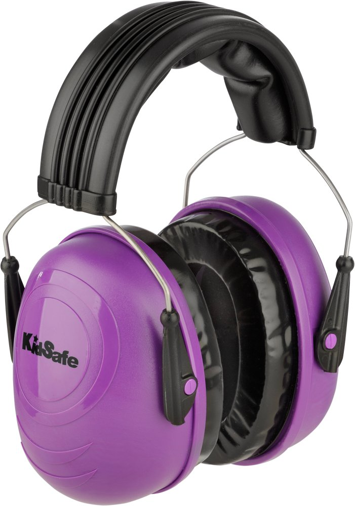 KidSafe Hearing Protector Over-the-Head Earmuffs by TASCO, NRR 25, Made in USA, Purple