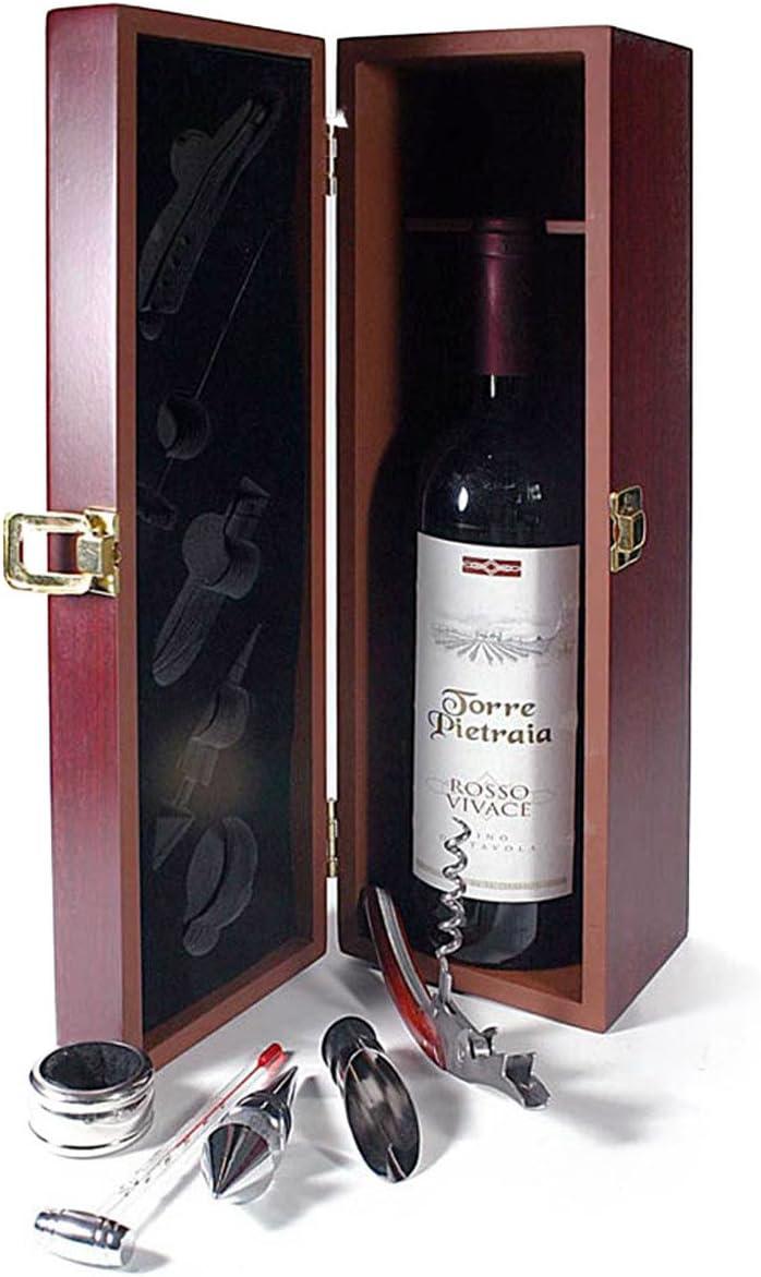 Compra Set de regalo de vino con caja de madera para una botella de vino con juego de accesorios de 6 piezas en Amazon.es