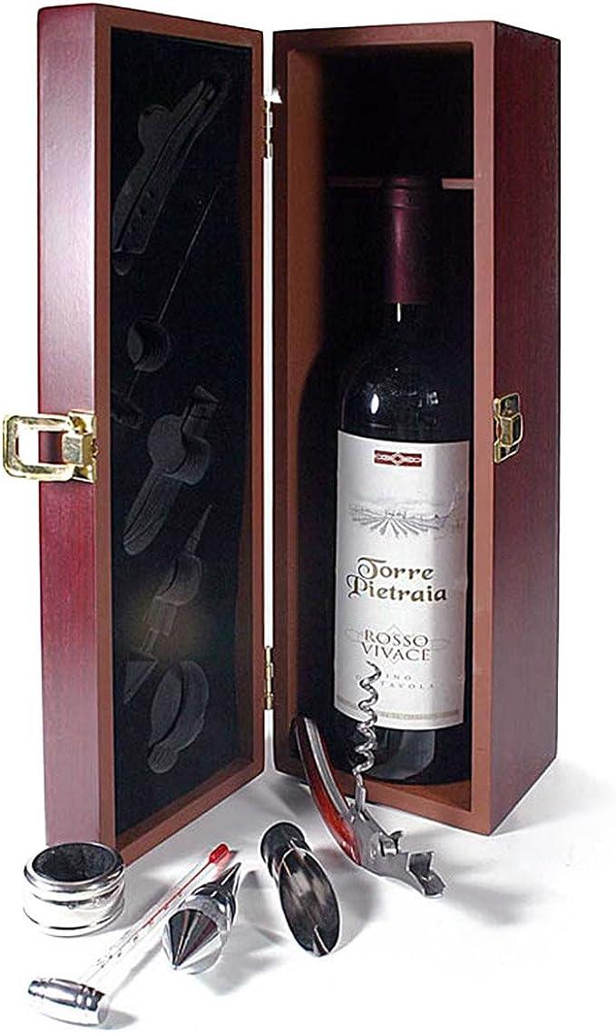 Juego de sommelier para regalo de vino, caja de madera para una botella de vino con accesorios de 6 piezas: Amazon.es: Hogar