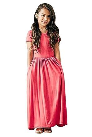 91119eadb97 Miss Bei Girls Dresses Short Sleeves Dress Summer Long Holiday Maxi Dress  with Pocket Size 4