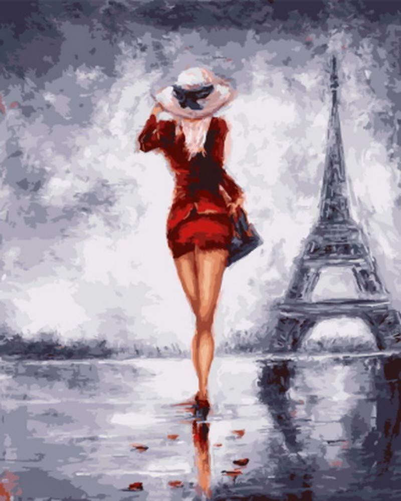 Wdcj Malen nach Zahlen Malen nach Zahlen für Wohnkultur Pbn für Wohnzimmer Paris Lady Framed 40x50cm B07Q11MCVL | Die erste Reihe von umfassenden Spezifikationen für Kunden