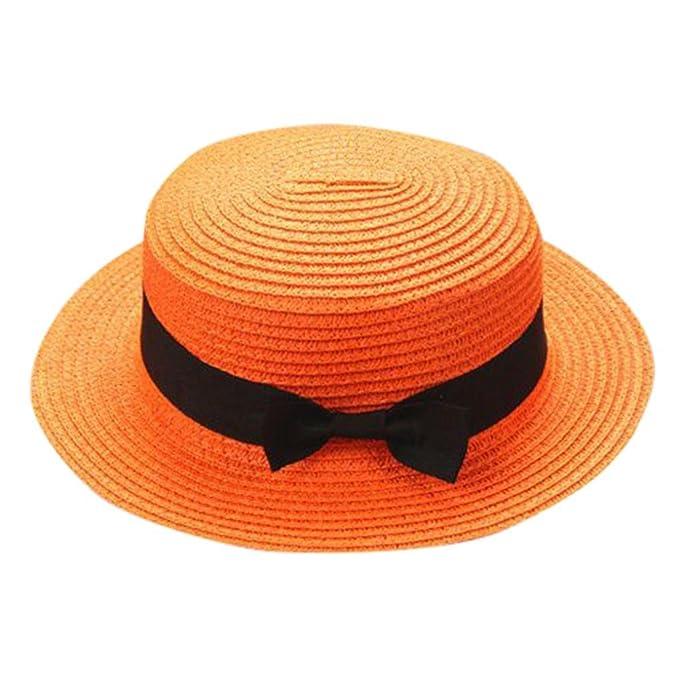 LiucheHD Cappello di paglia genitorialità Visiera parasole Fiocco di paglia  Protezione solare Cappello a cilindro Hip ad549ffd29d5