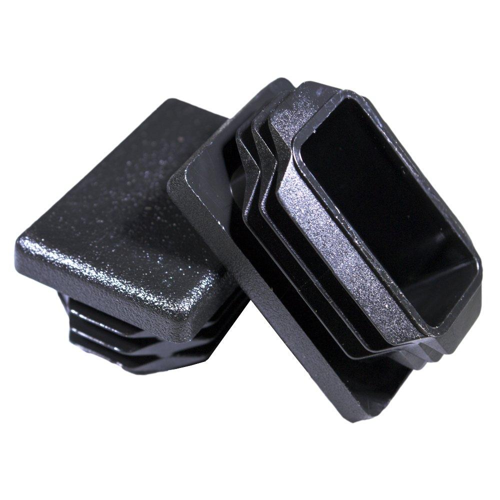 Prescott Plastics 10 Pack: 1 x 1 1/2 Inch Rectangle Black Plastic Plug End Cap