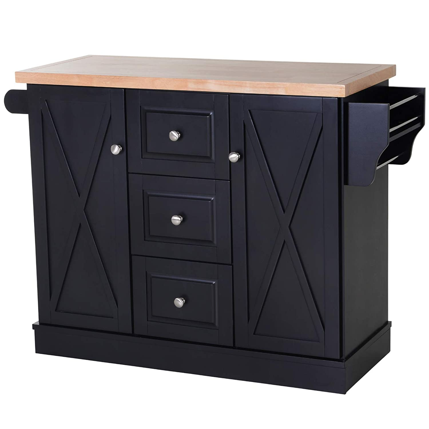 HOMCOM Wooden Mobile Kitchen Island Cart with Drawers and Wheel- Black