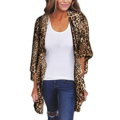 Women's Plus Size Shawl Fashion Leopard Print Loose Kimono Cardigan Top Cover Up Blouse Beachwear: Clothing