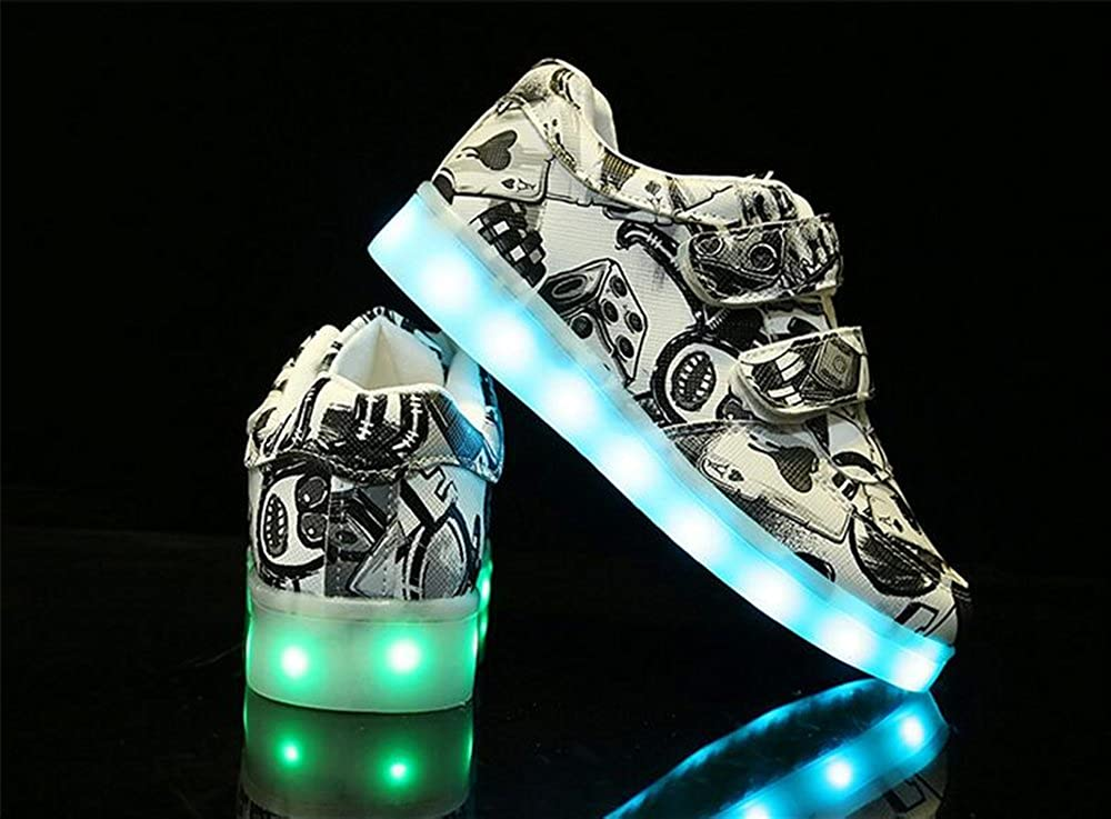 24XOmx55S99 Non-Slip,Kids LED Light Up Shoes Stripes Printed Lighting Low-Top Sneakers for Boys and Girls