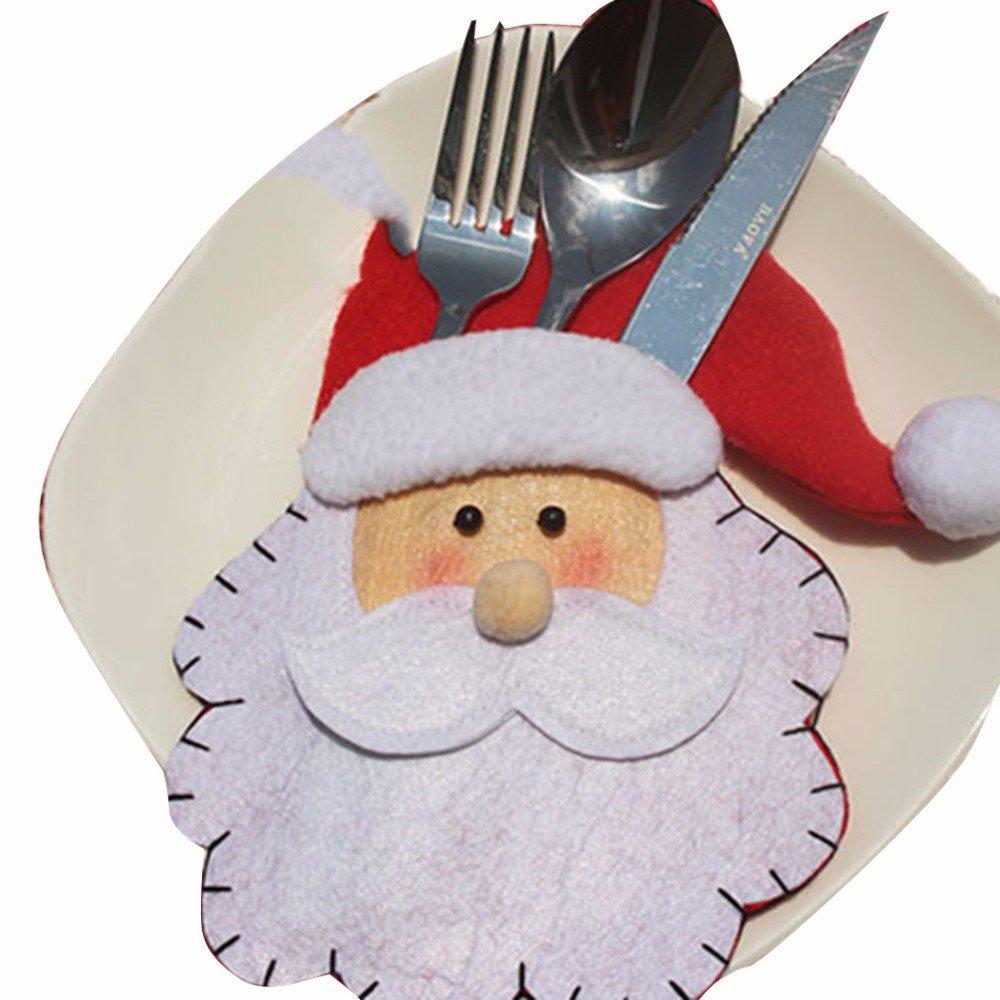 Sacchettini in tessuto per contenere le posate a tema natalizio, a forma di pupazzo di neve, confezione da 6 5pcs-Head-Holder DTworld