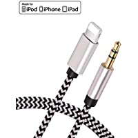[Apple MFi Certified] Car AUX Cord for iPhone, (3.3FT/1.0M) Lightning to 3.5mm Nylon Braided Stereo Audio Cable Compatible for iPhone 11/XS/XR/X 8 7, iPad to Speaker, Home Stereo, Headphone (Sliver)
