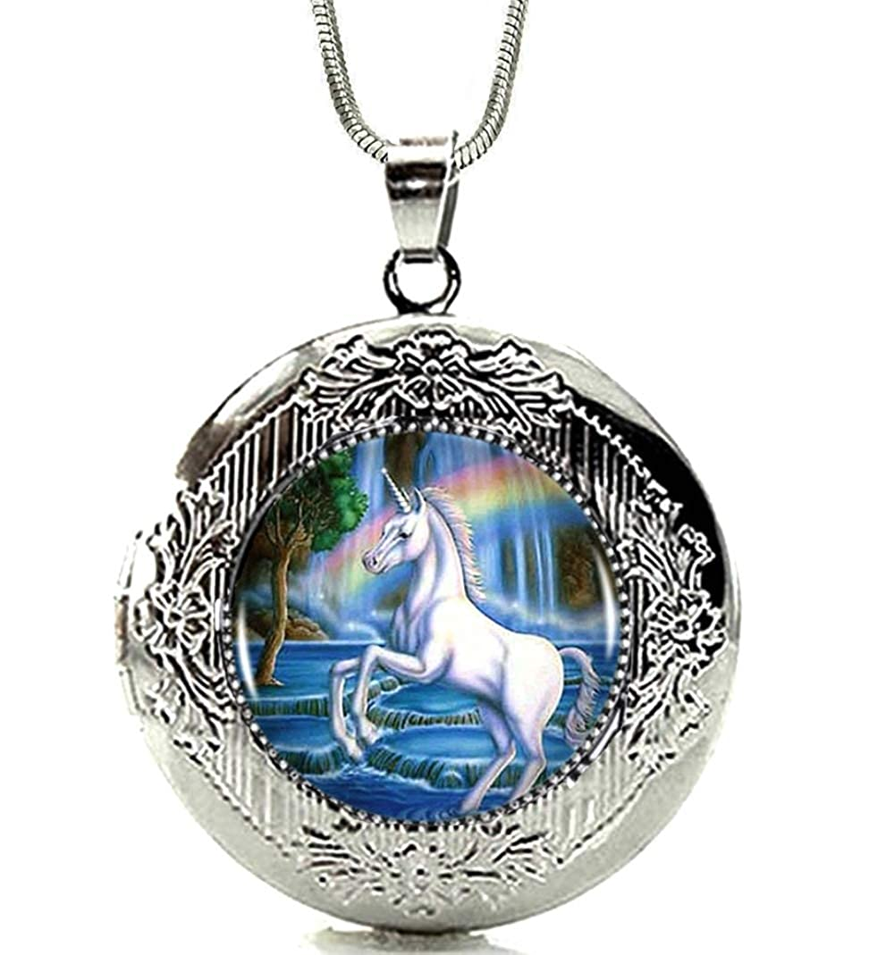 DianaL Boutique Silver Tone Unicorn Horse Rainbow Locket Pendant Necklace 19 Chain Glass Cabochon Art Picture Jewelry