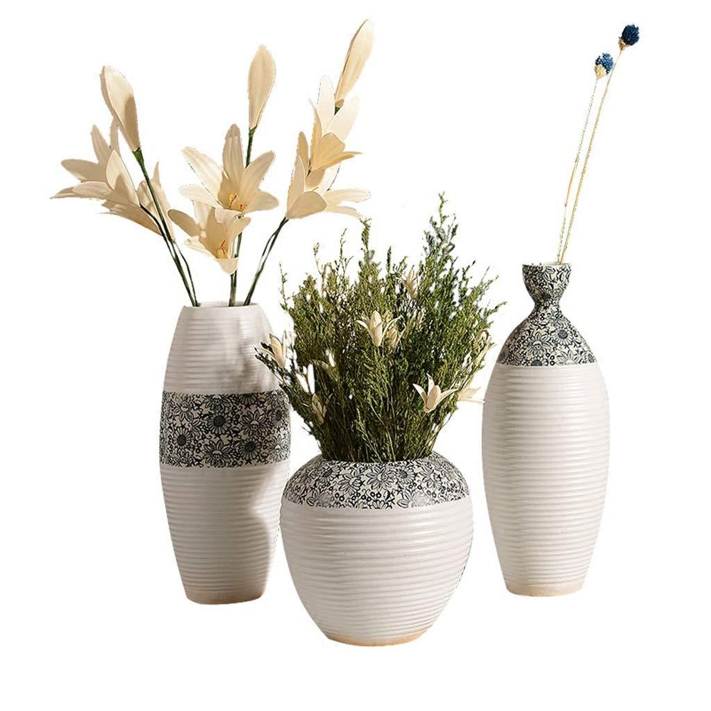 花瓶セットセラミックスドライフラワーシンプルホームアクセサリーホワイトテーブルフラワークリエイティブリビングルームの装飾 HUXIUPING B07T1WFXGB