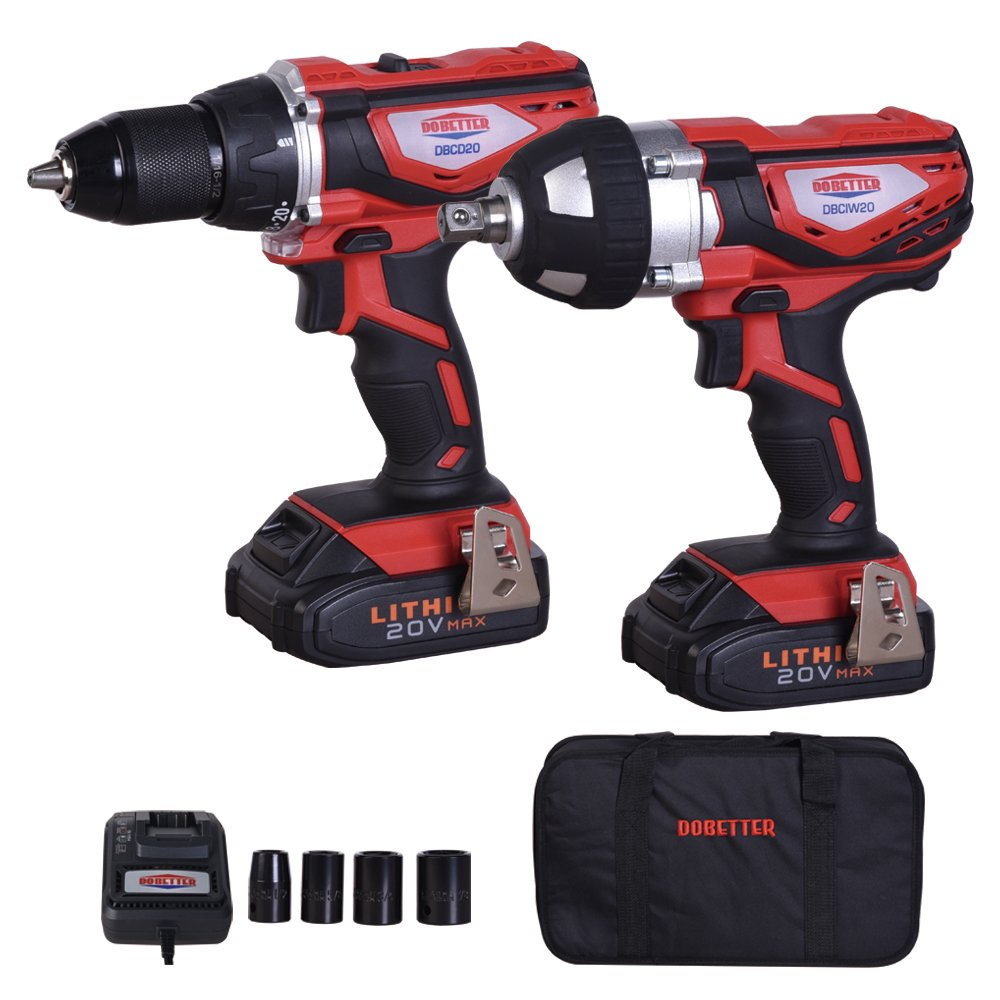 Dobetter DBCD/CIW20 20V MAX Lithium-Ion 1/2 inch Cordless Drill /Driver &1/2 inch Impact Wrench Combo Kit - 2 Packs, Fast Charger, with 4 Pieces Sockets, Tote Bag by Dobetter