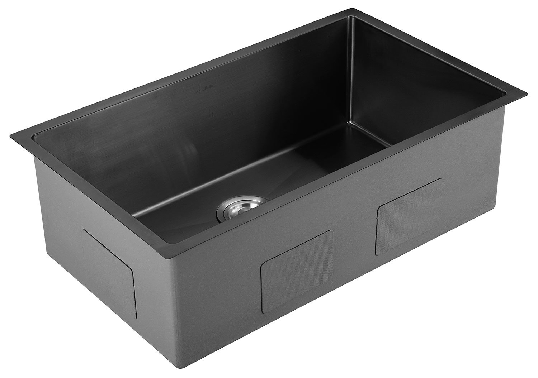 AguaStella AS3018MB Black Stainless Steel Undermount Kitchen Sink 30 Inches Single Bowl