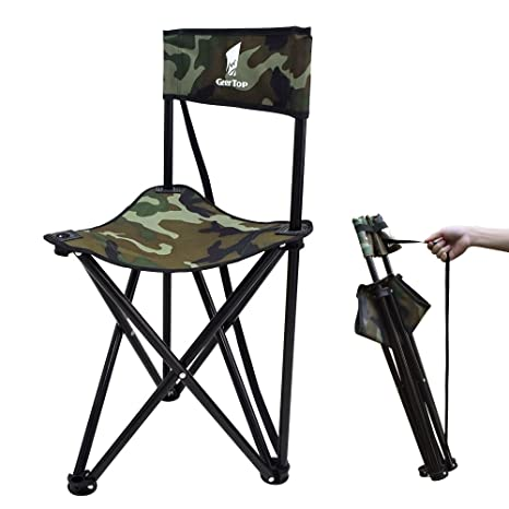 Enkeeo Portable Tripod Stool Folding Chair With Carrying Case For