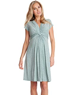 Seraphine Jolene Knot Front Maternity and Nursing Dress - Short Sleeve - Print