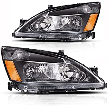 AUTOSAVER88 03 04 05 06 07 Honda Accord Headlight Assembly,OE Projector Headlamp Replacement,Amber Reflector Black Housing,One-Year Limited Warranty(Pair,HO2502120&HO2503120)