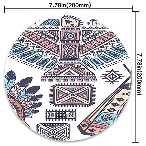 Round Mouse Pad Mousepad with Tribal,Ethnic Teepee Tents Eagle Symbol Moon Sun and Feather Chief Hat Print,Coral Blue and Peach Pattern Gel Rubber for Gaming Office - ()