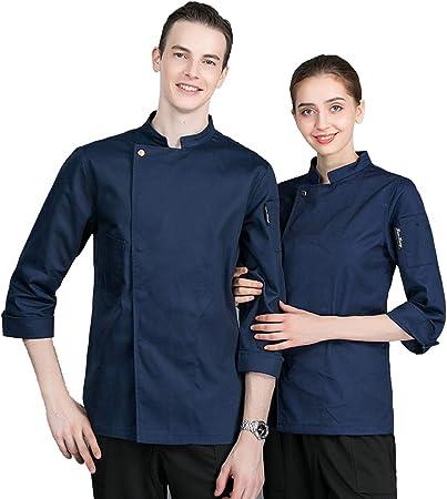 WYYSYNXB Unisexo Mujeres Hombre Camisa de Cocinero Transpirable Chaquetas de Chef Uniforme Cocina Restaurante Occidental,Azul,M: Amazon.es: Hogar