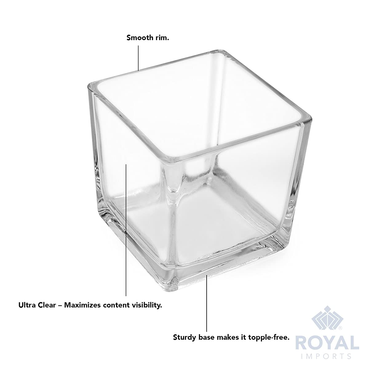 "Royal Imports Flower Glass Vase Decorative Centerpiece for Home or Wedding Clear Cube Shape, 2.5""x2.5""x2.5"", Set of 6"
