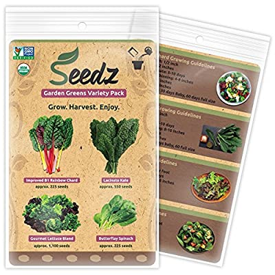 TOP-SELLING Certified Organic Seeds - Garden Greens Variety Pack - Kale, Lettuce, Spinach, Swiss Chard - Heirloom Seeds - Non GMO, Non Hybrid Vegetable Seeds - USA