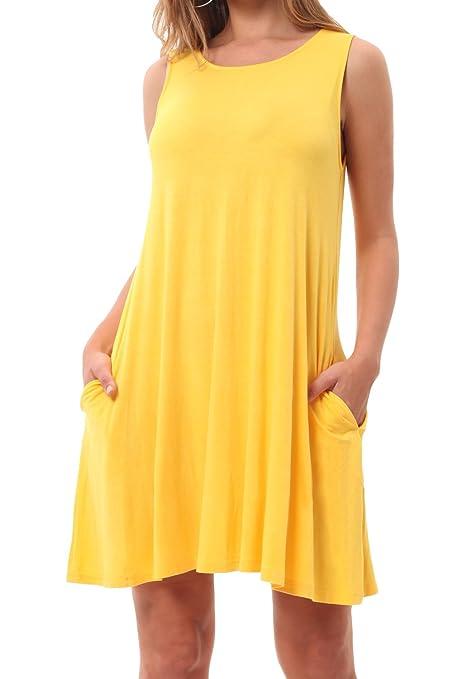 CALIPESSA Womens Sleeveless Pockets Loose Swing Casual T Shirt Dress