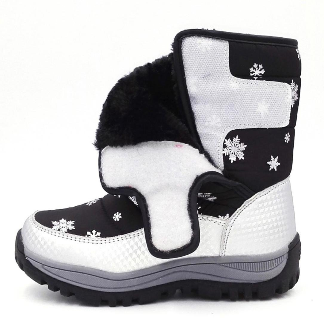 WARMSHOP Children Snow Boots Snowflake Print Boys Girls Solid Hook /& Loop Thick-Soled Boots for Students Sneaker Shoes