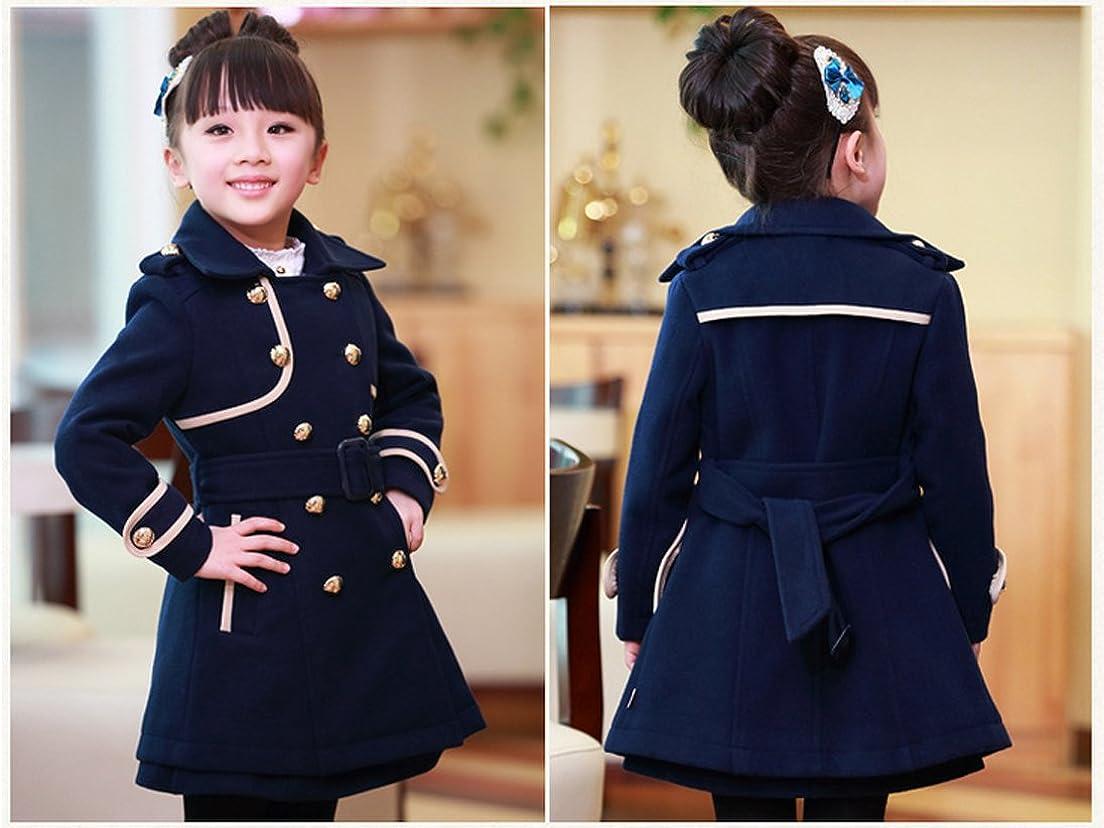 Big Girls Elegant Wool Blends Slim Trench Coat Winter Jacket Outerwear Clothes