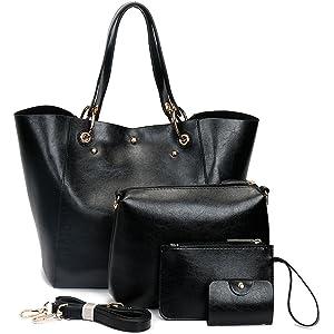 f6425497fd3 Amazon.com: Women Black Purses and Handbags Designer Leather Satchel ...