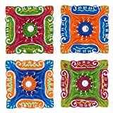 Set of 4 Diwali Decorations Colorful Oil Lamp Diya For Pooja/Puja Home Decor
