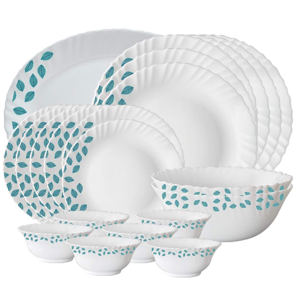 Larah By Borosil Leaves Opalware Dinner Set, 21-Pieces, White