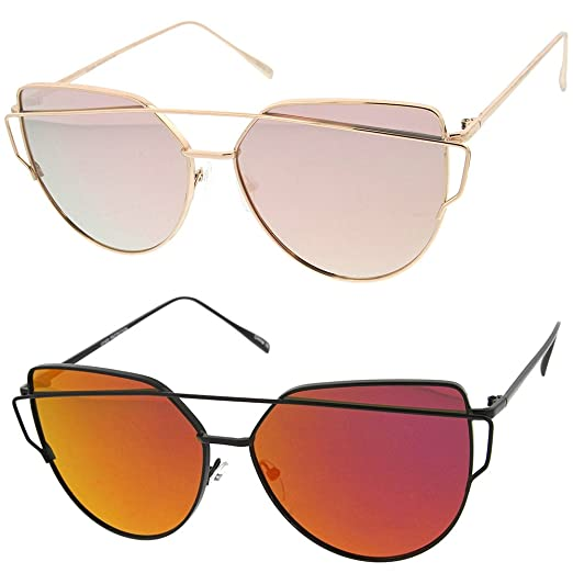 0a4a00fa36 sunglassLA - Oversize Metal Frame Aviator Sunglasses Thin Temple Color  Mirror Flat Lens 62mm (2
