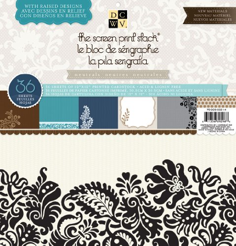 Die Cuts With A View Screen Print Paper Stack, 12 by 12-inches, Neutral (Textured View Cardstock)