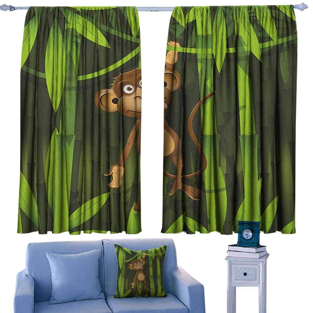 ParadiseDecor Jungle Kitchen Curtains Wildlife Theme with Illustration of a Cute Monkey in The Jungle Print,Patterned Drape for Kids Bedroom,W72 x L63 Inch