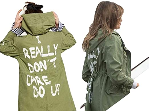NEXT ATLANTIC Melania Trump Jacket I Really Don t Care do u Army Jacket Slim 2279b945a