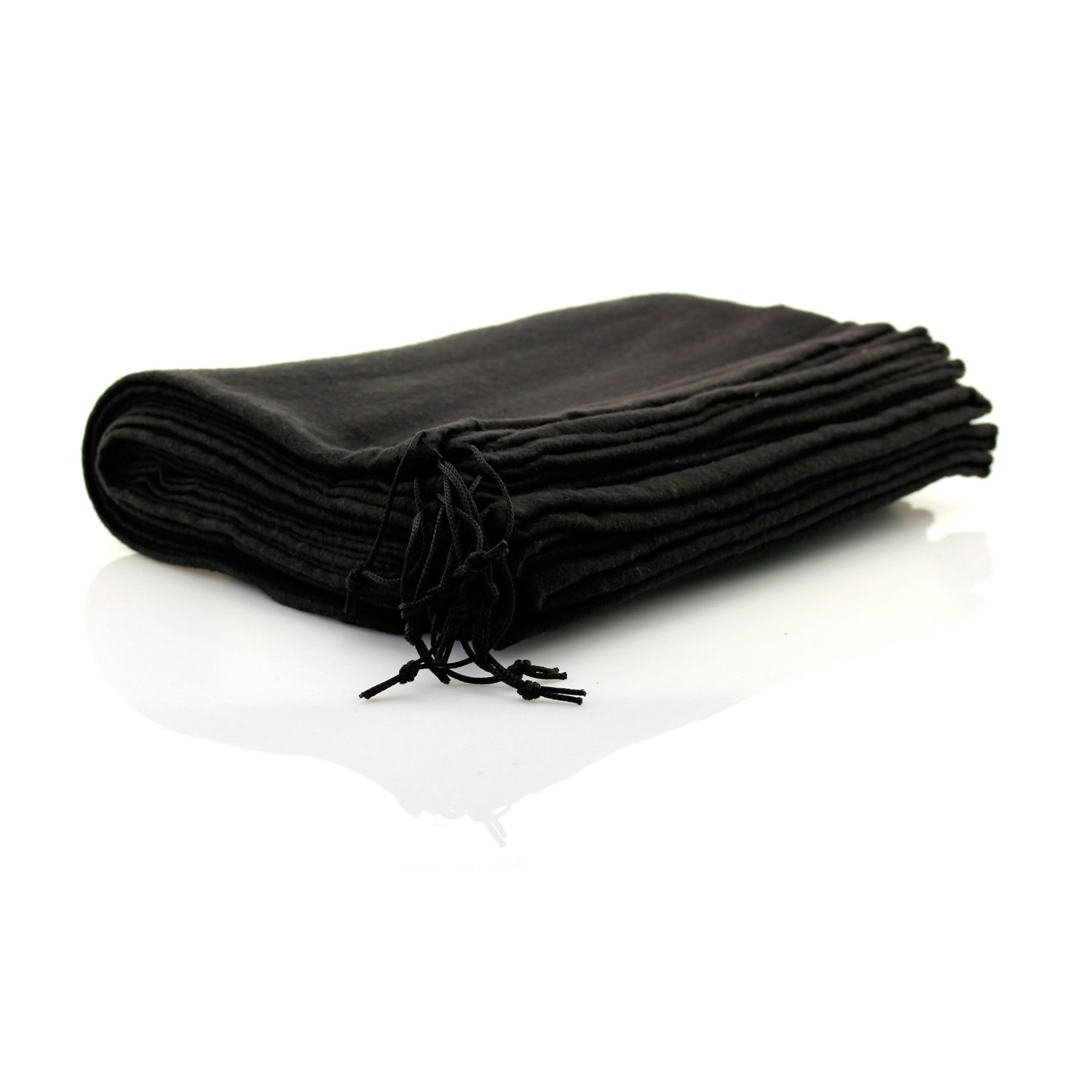 10 x Cotton Shoe Bag with Drawstring 37 x 27 CM Black Telmo ® 8002sw