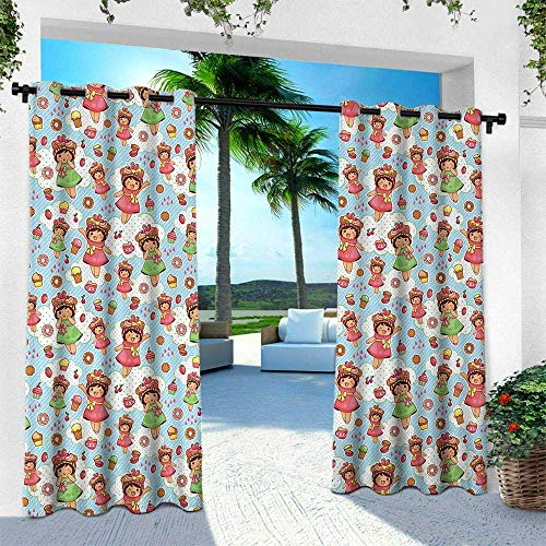 Hengshu Anime, Outdoor Patio Curtains Waterproof with Grommets,Cute Little Girls with Fruit Waffle Hats Cookies Donuts and Cupcakes Yummy Pastries, W96 x L84 Inch, Multicolor