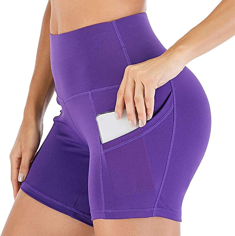 Biker Shorts for Women High Waist Yoga Shorts Tummy Control Workout Running Shorts with Pockets