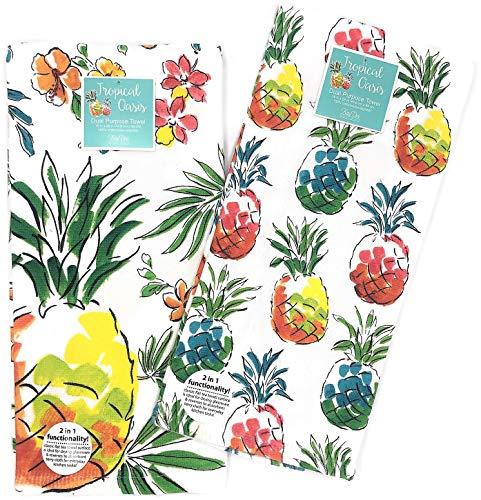 Kay Dee Designs Tropical Oasis Paradise Dual Purpose Kitchen Towel Dishtowel Set ()
