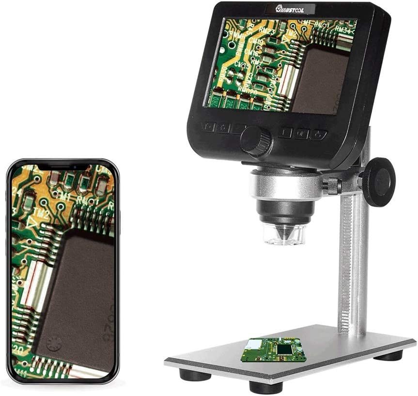 Color : Black, Size : One Size Monkibag Digital Microscope WiFi 2MP 4.3inch LCD Microscope Support iOS Android System Built-in Rechargeable Battery /& 8 Adjustable LEDs with Metal Stand