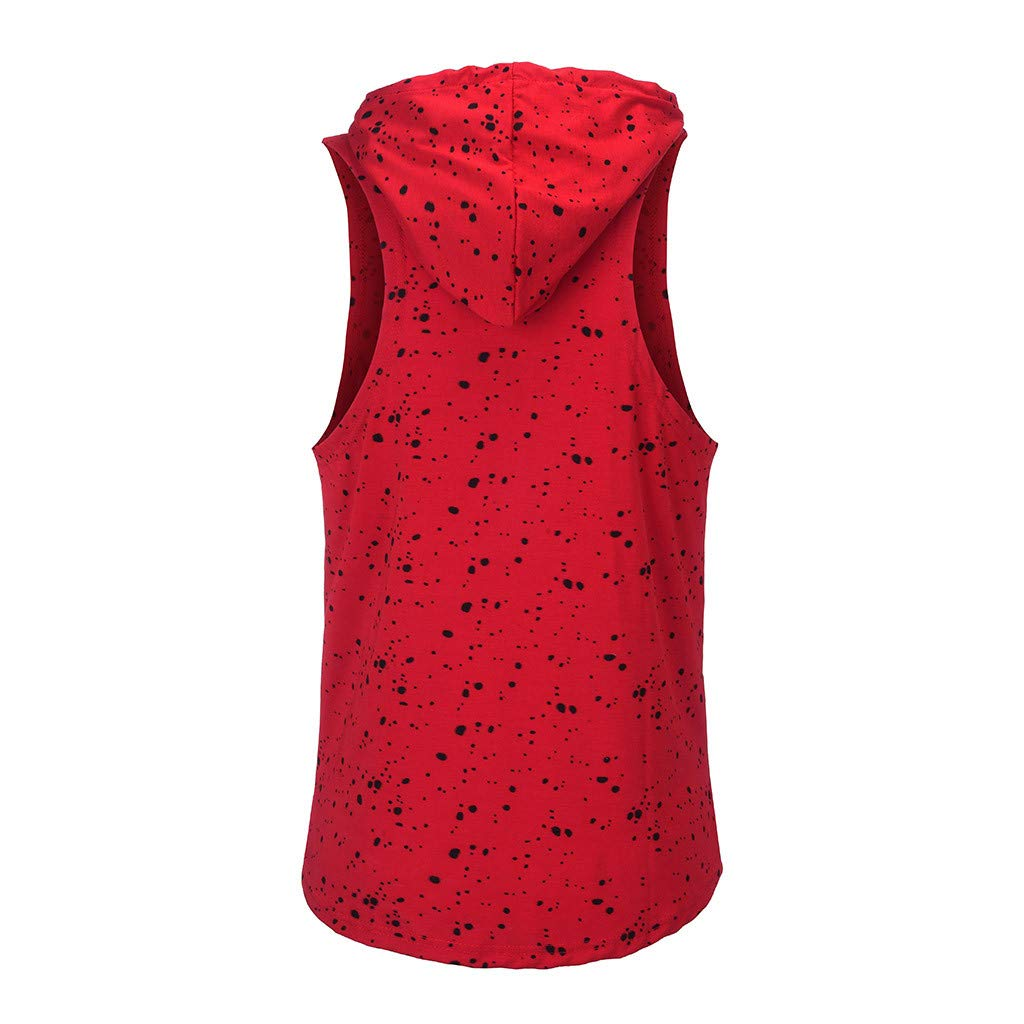 Allywit-Mens Spotted Snowflake Sports Vest Hooded Splice Large Open-Forked Male Vest