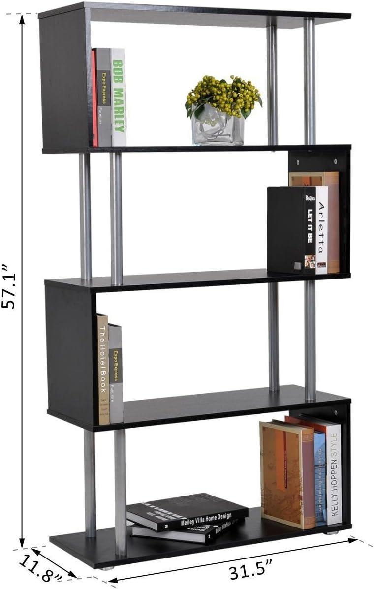 HOMCOM 4-Tires Wooden Bookcase S Shape Storage Display Unit Home Organizer
