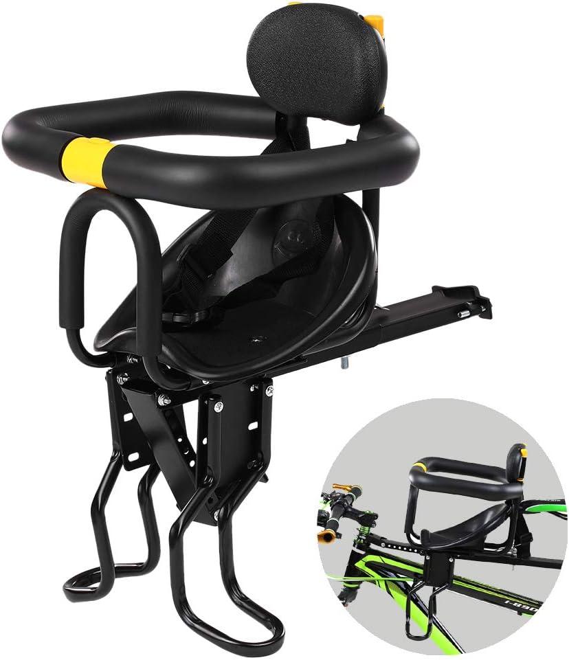 mewmewcat Asiento de Seguridad para niños Asiento Delantero para Bicicleta Sillín Infantil Portabebés para Bicicleta con Pedales Respaldo Negro hasta 25 kg De 8 Meses a 7 años