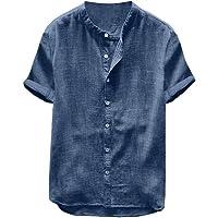 Overhemden heren korte mouwen regular fit linnen hemd Henley shirt mannen effen vrijetijdshemd oversized zomer casual…
