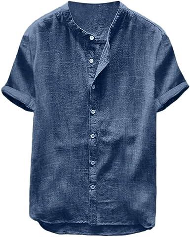 Fannyfuny camiseta Hombre Verano Polo Modelo Caballero Diario Top Camisetas Casuales Verano de Manga Corta T-Shirt Blusas Básica Camisa con Botones Algodón y lino: Amazon.es: Ropa y accesorios