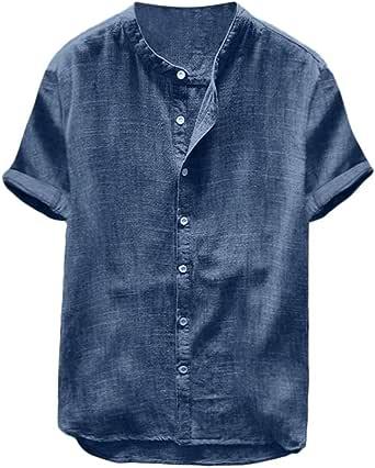 Overdose Camisas Hombre Elegantes Manga Corta Informales Lino Ibicenca Camisetas para Hombres Azul Verano Polo De Playa Fiesta Informal Cómodo Transpirable: Amazon.es: Ropa y accesorios