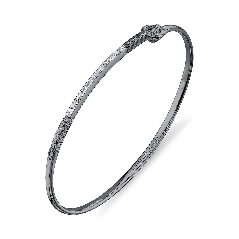 CHARLIZE GADBOIS 925 Sterling Silver Diamond Center Strie Bar Bracelet, (0.10 cttw, G-H Color, I1-I2 Clarity), Gunmetal Nano Coated