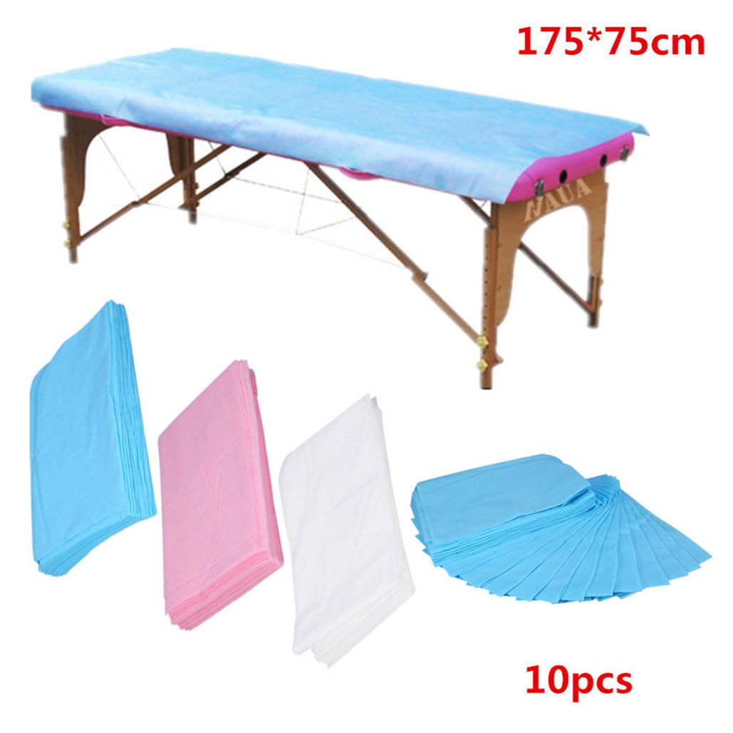 10Pcs Disposable Non-Woven Paper Table Bed Sheet Cover Spa Bed Cover Mattress Pad Protector Underpads Massage Table Sheets Covers for Spa Travelling Hotel Beauty Parlor, Adult, Baby or Pets (White)