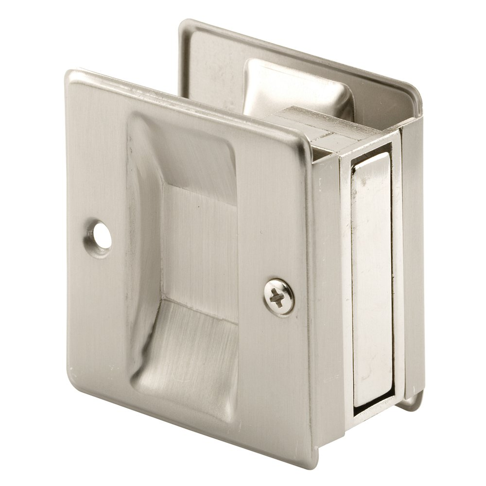 Prime-Line Products N 7238 Prime-Line Pocket Door Handle and Pull, 2-1/2 in L X 1-3/8 in W X 2-3/4 in D, Solid, Satin Nickel Plated x x, Brass